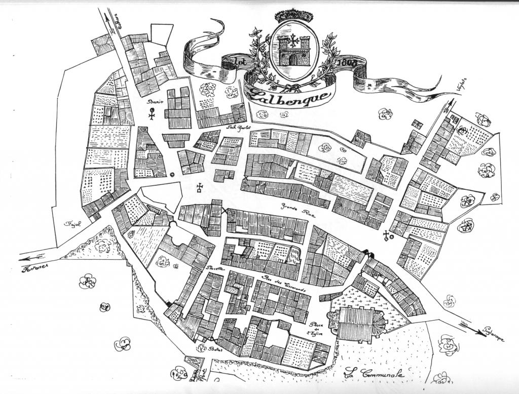 Copie du Plan de Lalbenque de 1808 réalisée par Jean Cubaynes